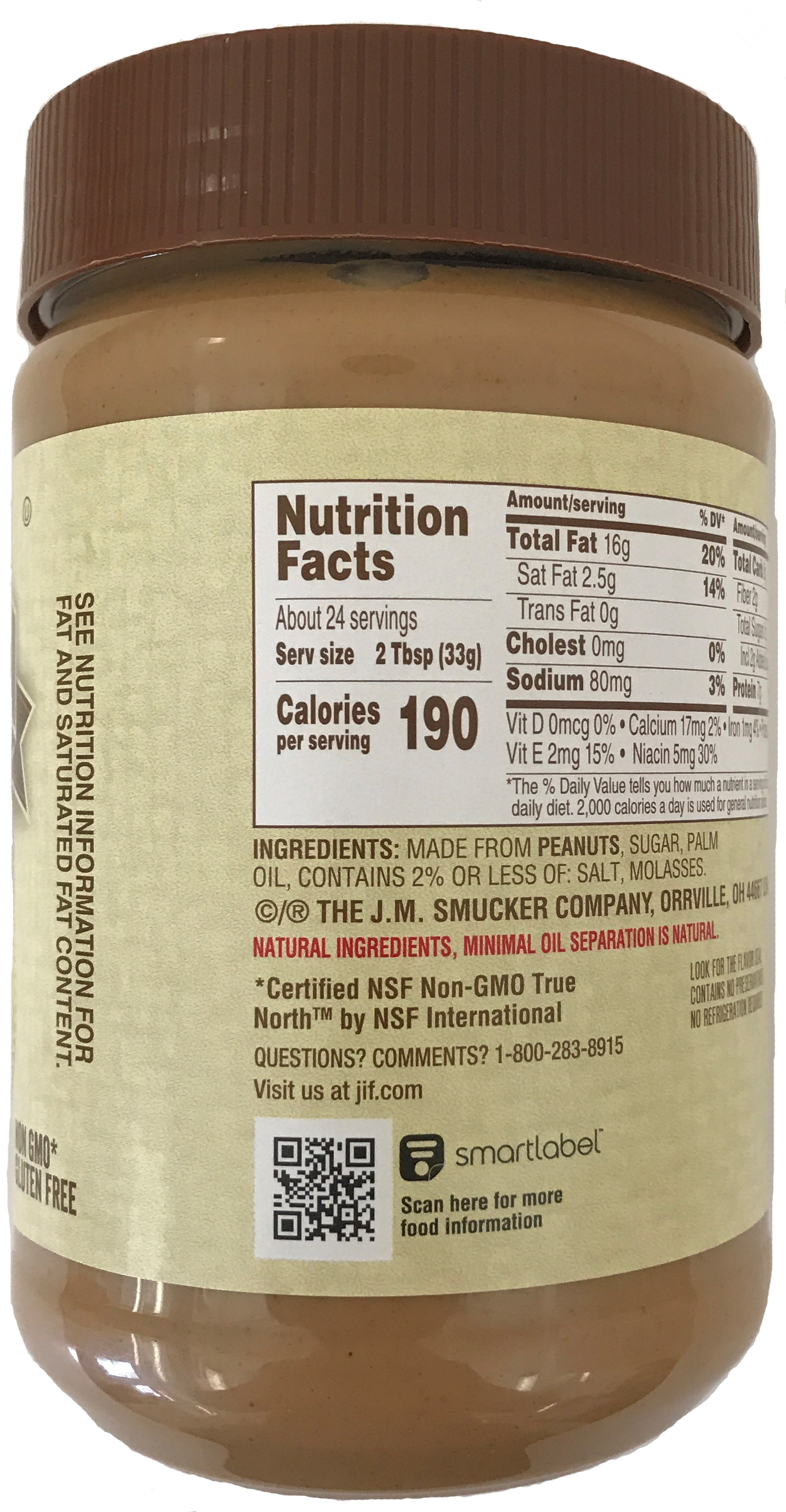 The J.M. Smucker Company- Jif Natural Creamy Peanut Butter- Back